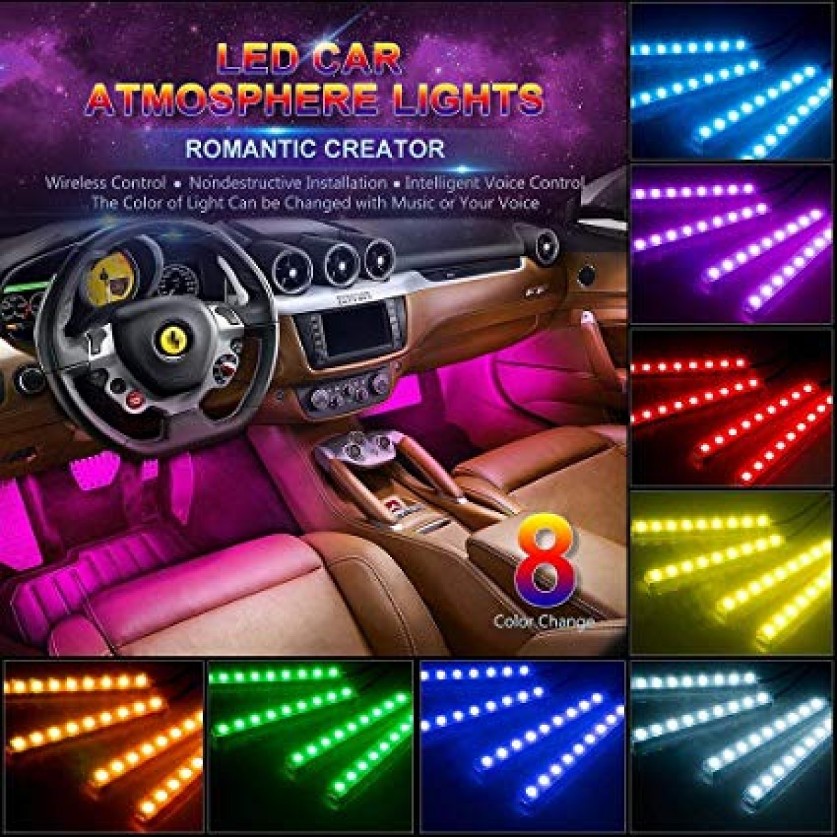 8 color changing car under dash Light for sale in Port more St Catherine - Auto Accessories