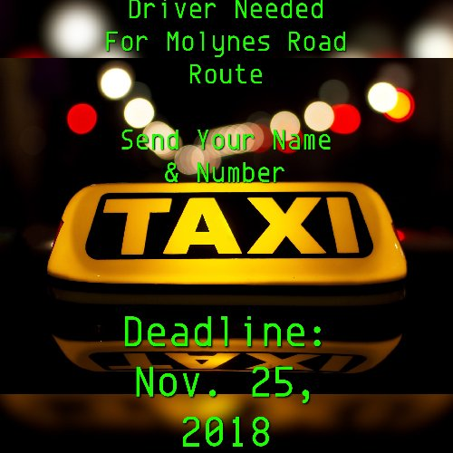 Driver Needed For Taxi Services - Molynes Road