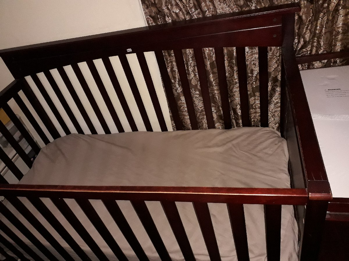 Brown Baby Crib With Changing Table, Shelfs Combo for sale ...