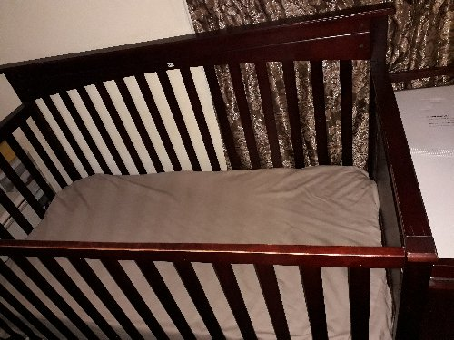 Brown Baby Crib With Changing Table, Shelfs Combo