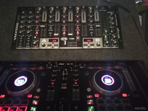 Computer, Numark turntable, behringer pro mixer, a