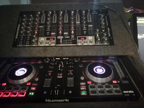 Computer, Numark turntable, behringer pro mixer, a