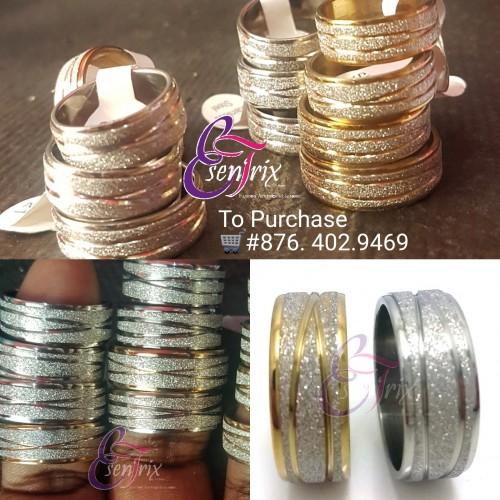 Stainless steel glitter rings