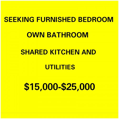 I Am Seeking One Furnished Bedroom