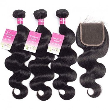 Brazilian Body Wave Human Hair 3 Bundles With Clos