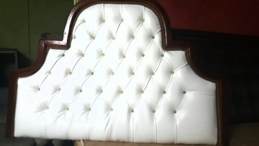 Beautiful Padded Double Bedhead For Sale