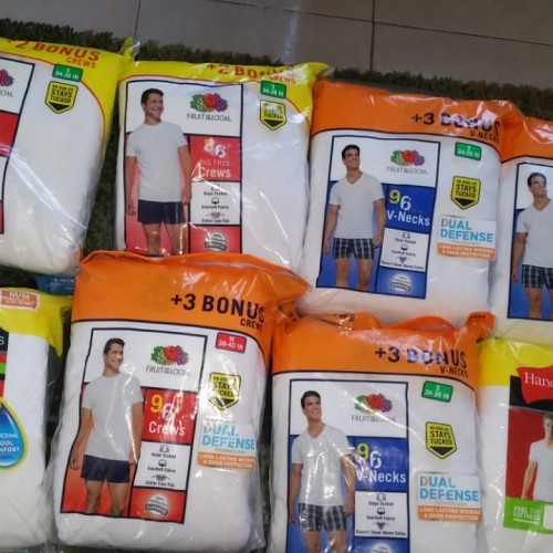 WHITE HANES VNECK AND CREW UNDERSHIRTS.9 Per Pack
