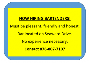 BARTENDERS NEEDED!