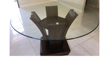 Modern Glass Top Dinning Table (ONLY)