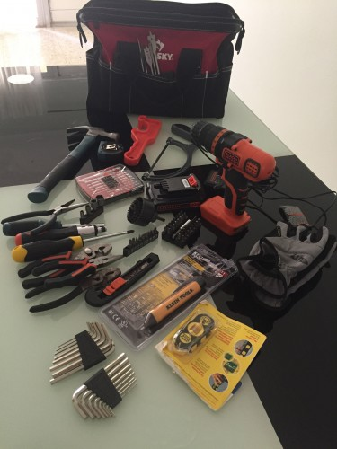 Drill, Screwdrivers, Hammer, Measuring Tape Etc