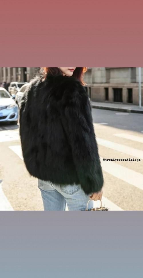 Faux Fur Jacket. Black. Medium