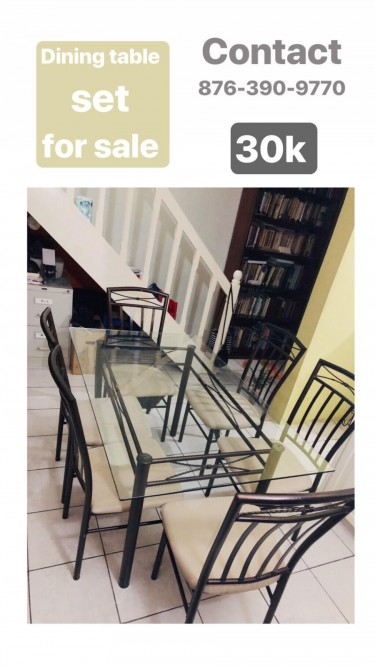 Six Seater Glass Dining Room Set