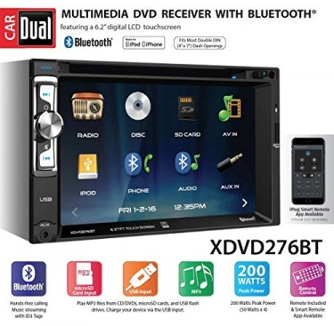 Car Dual Multmedia DVD Receiver W/ Bluetooth
