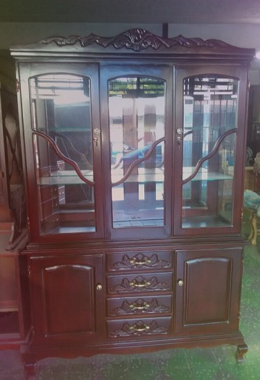 Beautiful Solid Wood Breakfront For Sale