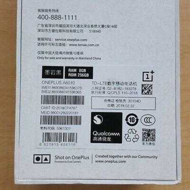OnePlus 6T (A6010) 256GB/8GB Midnight Black Unlock