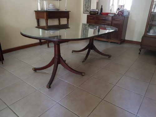 Two Pedestal Mahogany Dining Table W. Brass Caster Furniture Kingston 10