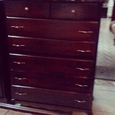 Beautiful Dark Stain Chest Of Drawers For Sale