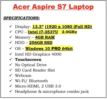 Acer Aspire S7 Laptop - I7 Touchscreen