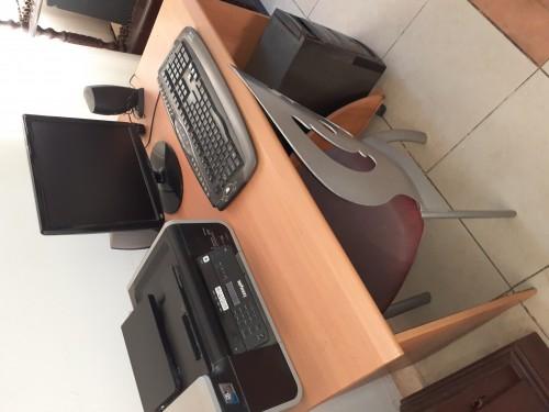 Desktop And Printer And Deck