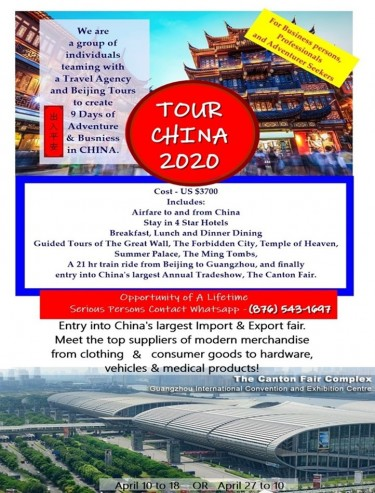 Jamaica To China Business + Adventure Trip