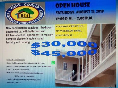 Open House 1 Bedroom Studios For Rent