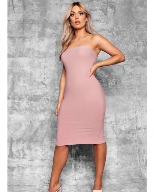 Bandeau Fitted Midi Dress