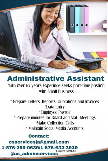 Admin Assistant Seeks Part-time Job