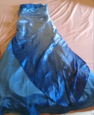 Blue With Silk Looking Colour Dress (size 5/6)