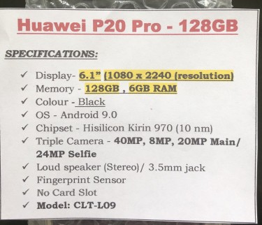 Huawei P20 Pro (Pre-owned)