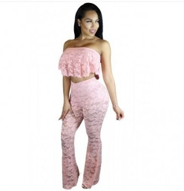 2 Piece Lace Pants Suit With Underneath Lining