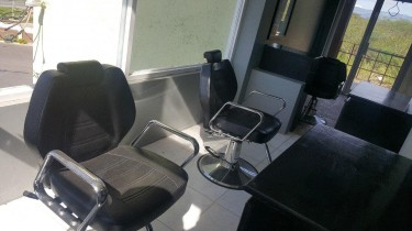 3 LIKE NEW BARBER CHAIRS INCLUDING STATIONS