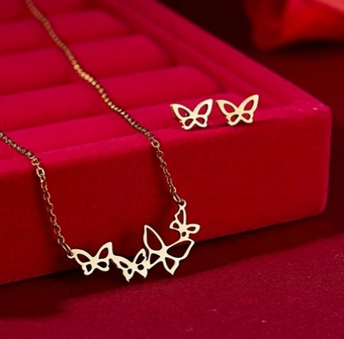Stainless Steel Necklace And Earring Jewelry Set