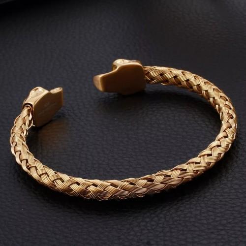 Gold Skull Head Cuff Bracelet For Men