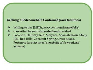Seeking 1 Bedroom/Self-Contained (own Facilities)