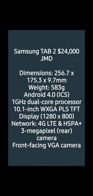 SAMSUNG TAB 2 10.1 INCH