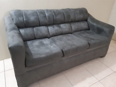 Sofa / Couch - 77 Inches Long - Grey Suede