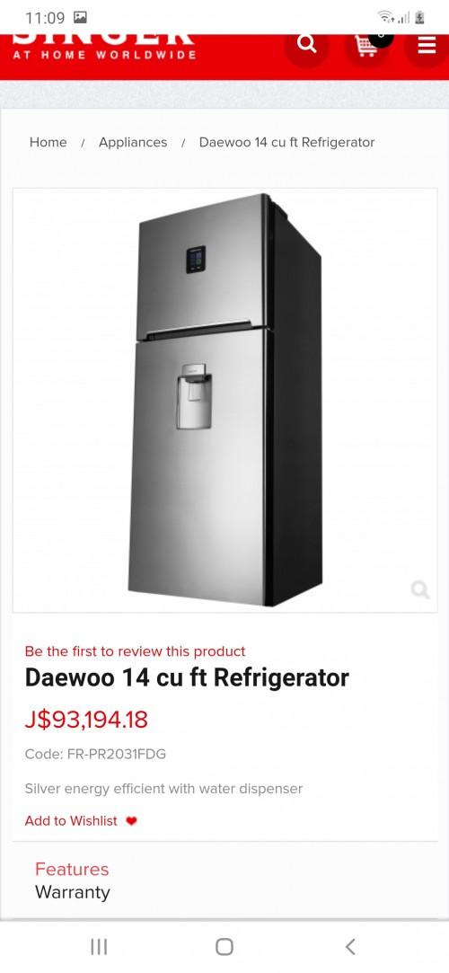 Daewoo 14 Cu Ft Refrigerator With Water Dispenser.