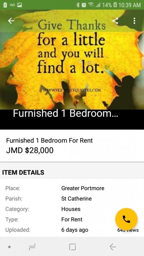 1 Bedroom Furnished Shared Bathroom & Kitchen