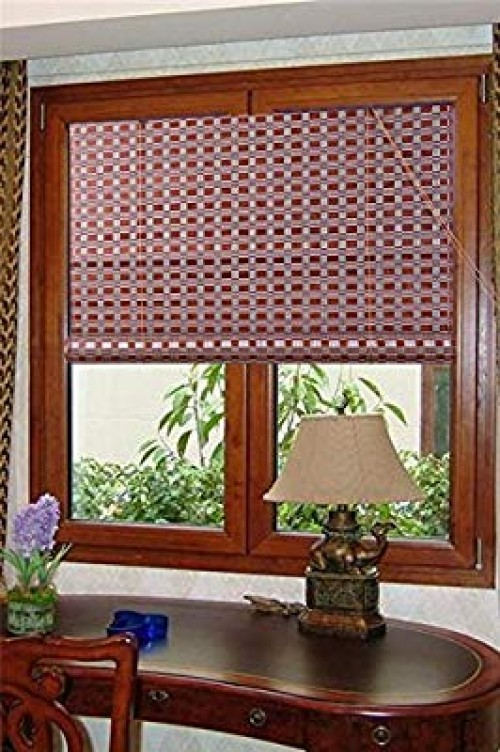 2 Natural Bamboo Roll Up Window Blinds