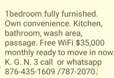 Fully Furnished 1 Bedroom Kitchen Own Onvenience