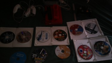 Modded Nintendo Wii With 10 Cds And Games Installe