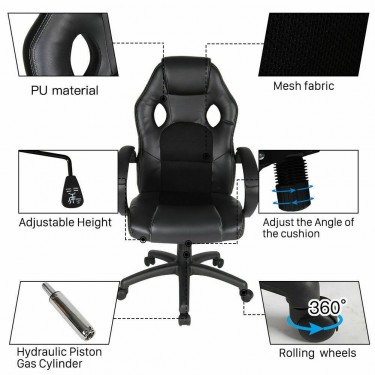 Black Five Star Leather High Back Executive Office