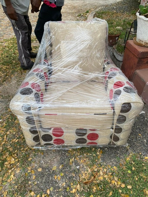 New Accent Chair - Red Brown Beige Polka Dot