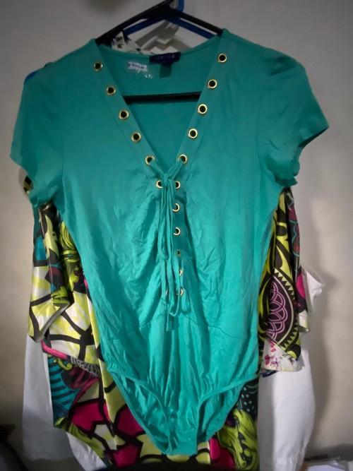 Aqua Bodysuit Top Size Medium.