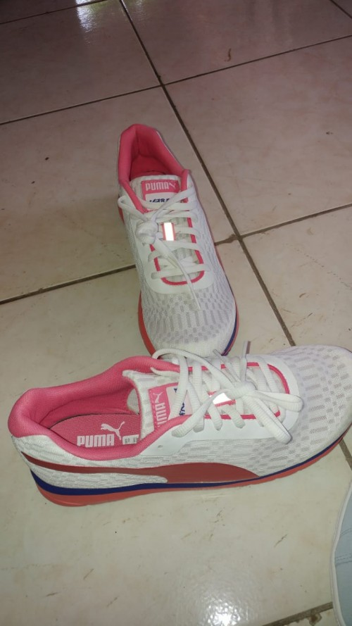 Pink And White Puma Sneakers, Size 9.