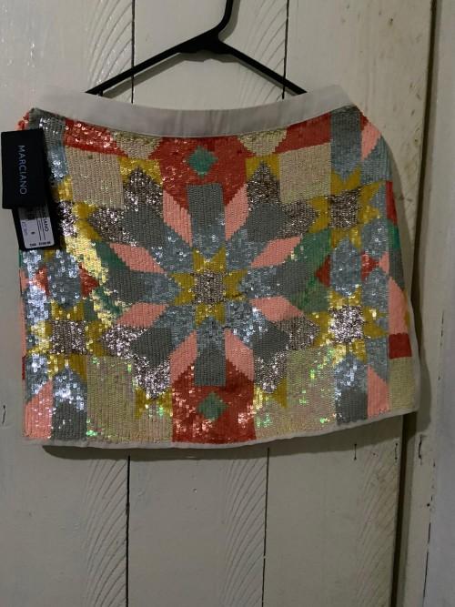 Marciano Cream Sequin Multicolor Front Mini Skirt