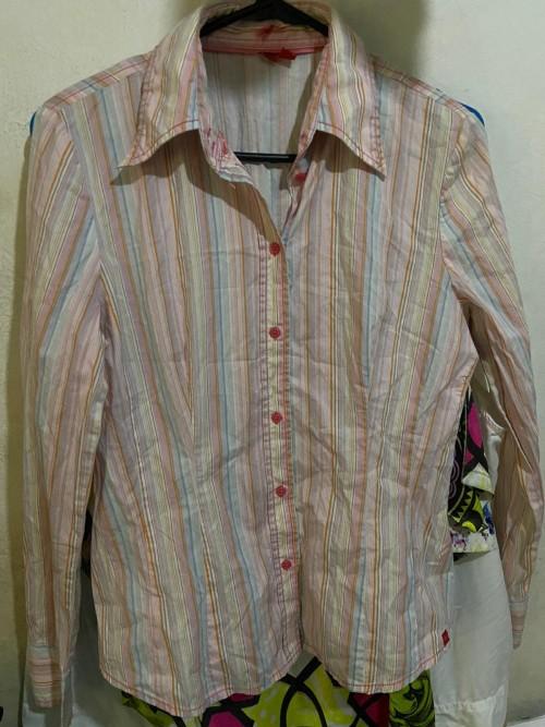 Size M H&M Pink Stripe Long-sleeve Shirt.