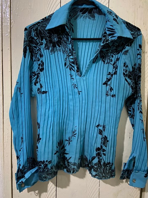 Blue And Black Floral Long Sleeve Shirt Size Med.