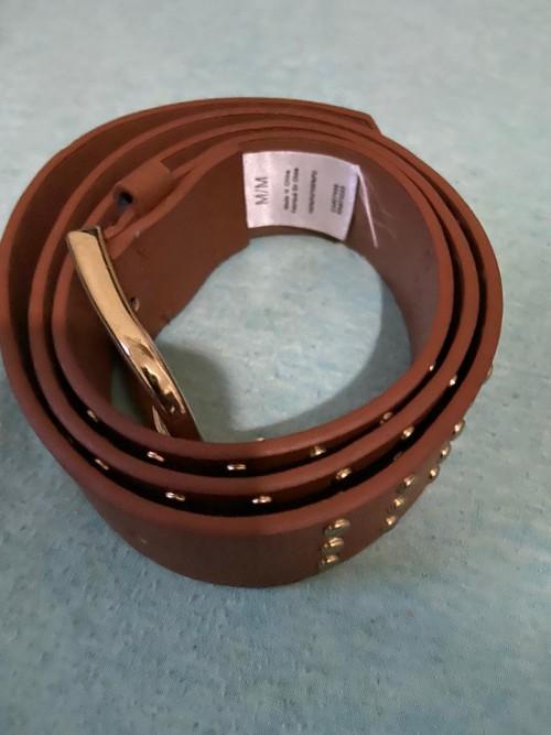 Brown Belt With Gold Studs Size Medium