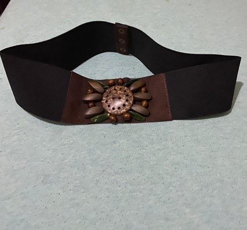 Black Elastic Belt With Brown From Design